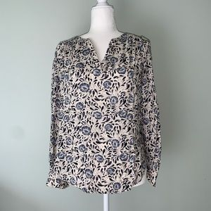 Hinge blue white floral blouse #3150